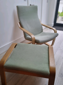 IKEA Poang chair and foot stool light green fabric