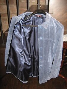 Womens Blue Leather Suede Jacket Kawartha Lakes Peterborough Area image 3