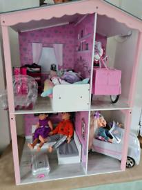 Designafriend complete set, house, car, clothes, bike, doll
