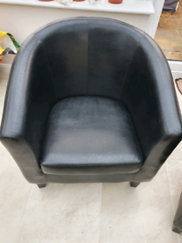 Black leather bucket chairs x 2