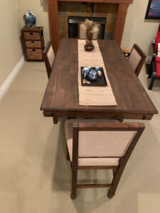 Solid wood high table + high chair