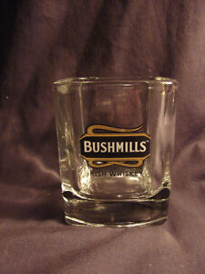 2 original BUSHMILLS IRISH WHISKEY on the rocks glasses