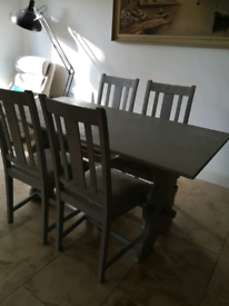 Shabby chic table and 4 chair set