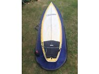 """Warner 6'1"""" surfboard shorty with bag leash and fins. Made in Australia. Dakine pad"""