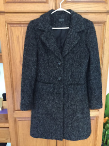 LADIES COAT, FULL LENGTH, SIZE S, GREY/BLACK