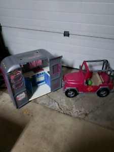 """18"""" Doll Jeep/Trailer and Bed/Wardrobe"""