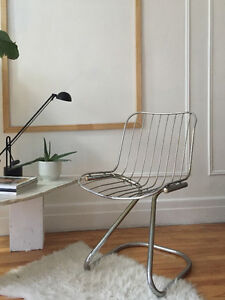 Mid Century Cantilever Chrome Wire Chair