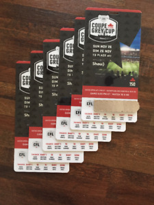 GREY CUP TICKETS FACE VALUE, $300 each, 6 tickets in a row