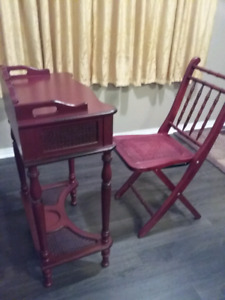 Wood side table with matching folding chair