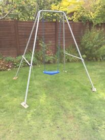 Swing - metal frame and blue swing seat