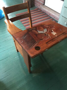 Antique school chair with handpainted artwork