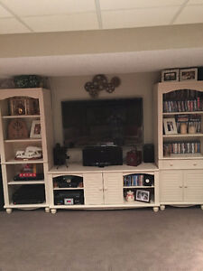3 PC cream color entertainment system - like new condition