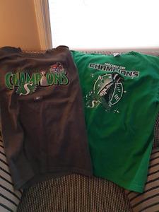 2 Saskatchewan rough rider 2007 grey cup shirts