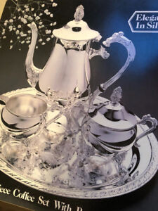 SILVER COFFEE SET WITH ROUND TRAY