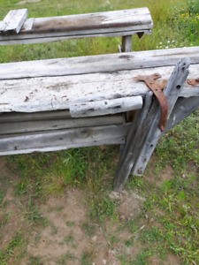 Old rustic work benches