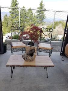 live edge fir slab coffee table and chairs