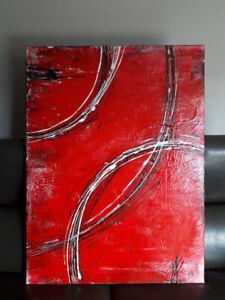 Grand cadre toile peinture rouge et noir 30x40 pouce