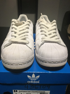 All White Adidas Superstar Size 9.5