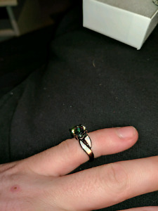 Black Rhodium, mystic topaz, and white opal ring. Size 5