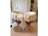 Beautiful large wicker basket on wheels