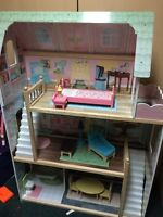 Large Wooden Dollhouse with furniture