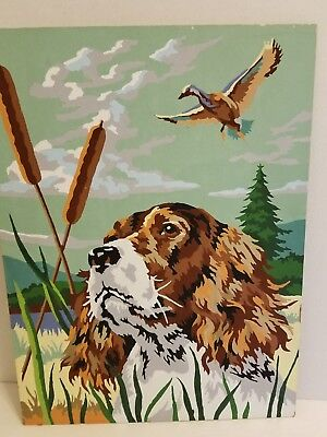 """Vintage Paint By Number Brittany Spaniel Hunting Dog Duck Cattails 12""""x16"""" FS"""