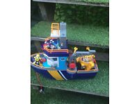 Big toy boat with submersible and figures