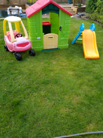 Garden toy house, slide and car for sale