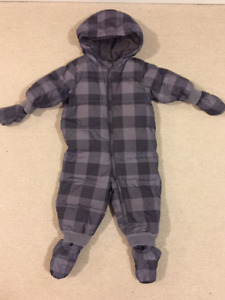 Baby Gap Toddler One-Piece Snowsuit - Grey/Black