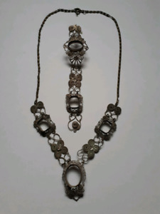 Antique 19 Century Canadian Silver Plated Necklace & Bracelet