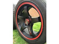 Lenso 15x7 et38 4x100 light weight wheels with toyo proxes 205/45/15