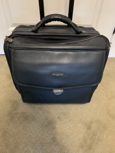 Lawyer computer file leather case with wheels. Bugatti
