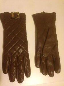 Michael Kors Brown Quilted Leather Gloves