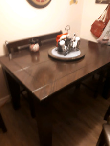 Bar Height Dining Table with Butterfly leaf & Lazy Susan