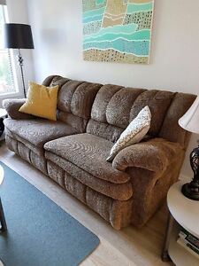 Brown fabric reclining couch