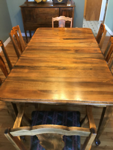Antique Solid Ash Dining Table, Chairs and Sideboard