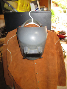 WELDING MASK AND LEATHER JACKET