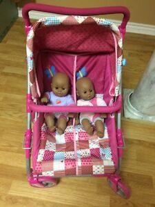 Twin babies and double stroller Cambridge Kitchener Area image 1