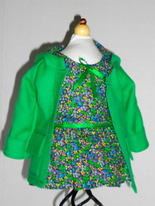 Designer coat and dress for 18 inch American Girl dolls.