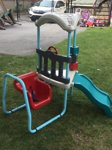Swing and slide foldable toddler