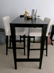 High top dining table with 2 chairs
