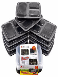 3 Compartment Bento Boxes, Meal Prep Containers, pack of 10