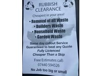 Rubbish clearance cheaper than any skip covering and the surrounding areas