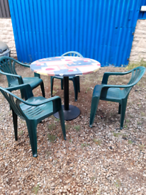 Round patio/bistro table and 4chairs.