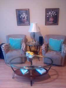 Chairs, coffee table, end tables