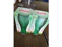 NEW Boxed Splash / Bubble Glass 2010 McDonalds Dark Green Colour Coca Cola Coke X 2