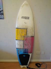 """5'10"""" fish surfboard plus bag"""