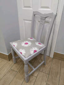 PRETTY SHABBY CHIC DOVE GREY SOLID WOOD CHAIR