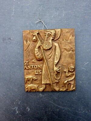 Decorative Old Mural Brass St.Antonius 6 cm Religious Collector's Item