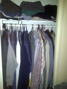 Lots of Coats, Shirts, Pants - mostly large and 36x32